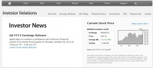 Apple to Announce Its Q4 2013 Earnings on Monday, 28th October