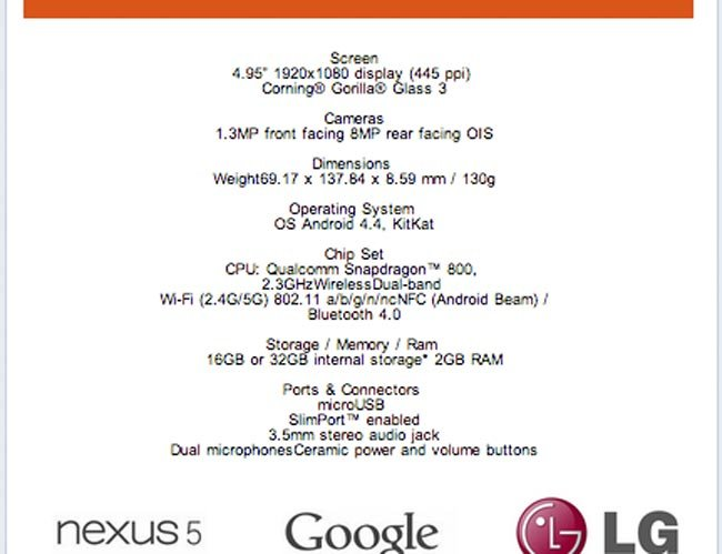 Google Nexus 5 Full Specifications