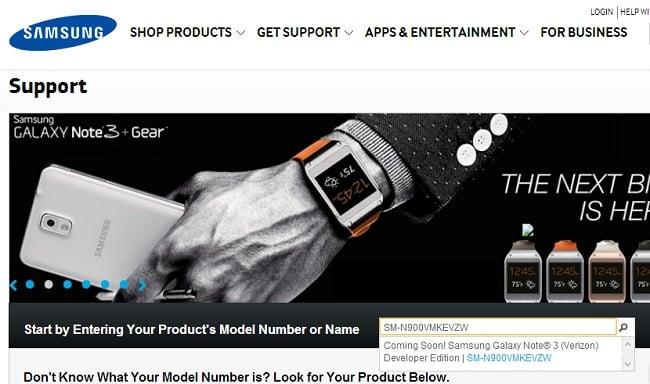 Samsung Support Site