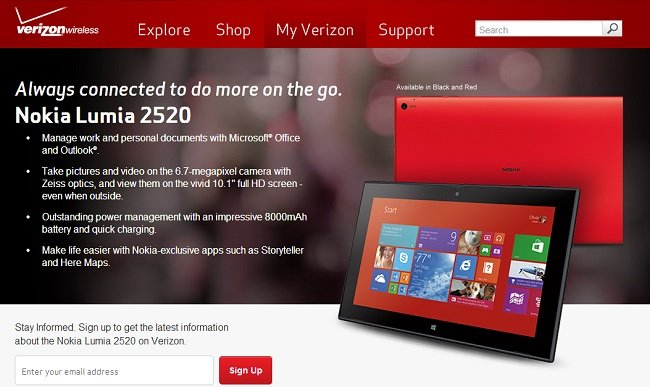 Verizon Lumia 2520