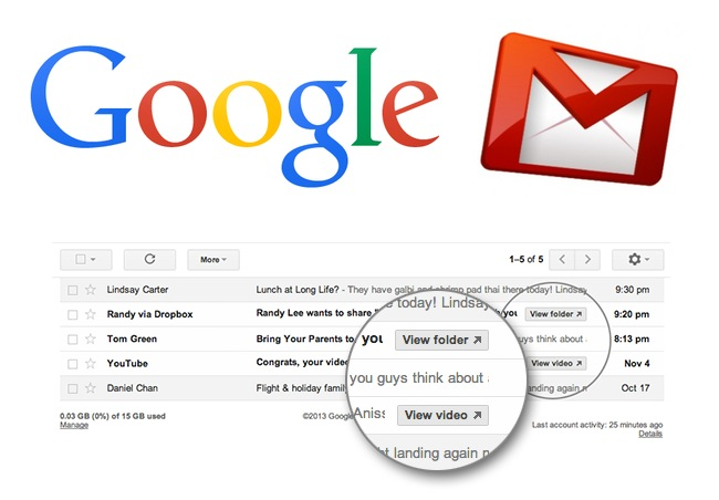 Google Gmail Action Buttons