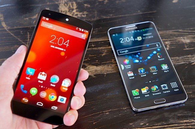 Google Nexus 5 vs Galaxy Note 3