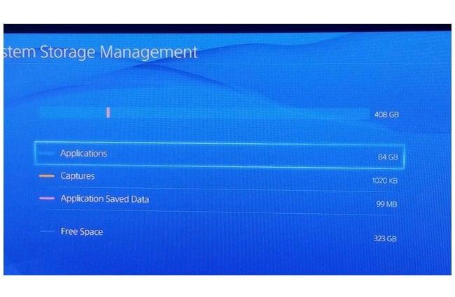 PlayStation 4 actual storage capacity