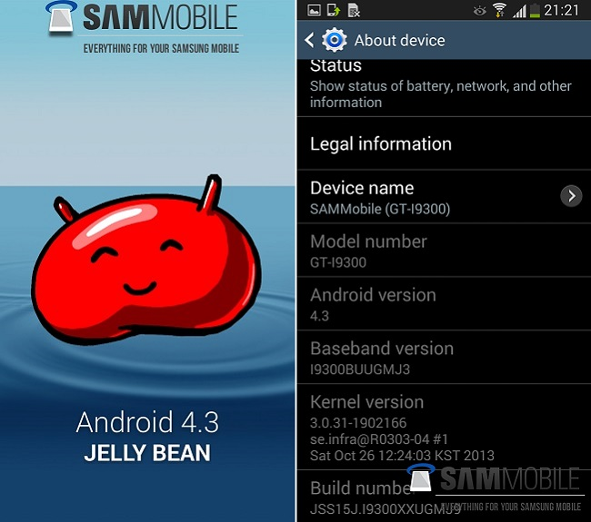 Galaxy SIII Android 4.3
