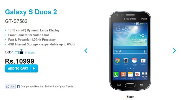 Samsung Galaxy S Duos 2 Official, Appears on Samsung India's Website