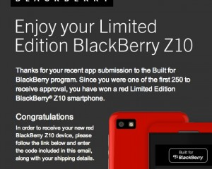 Limited Edition Blackberry Z10 Now Available for First 250 Developers Who Successfully Submitted an App