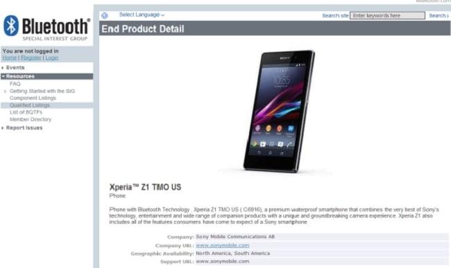 T-Mobile Xperia Z1