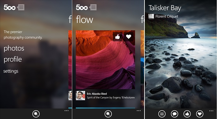 500px for  Windows Phone