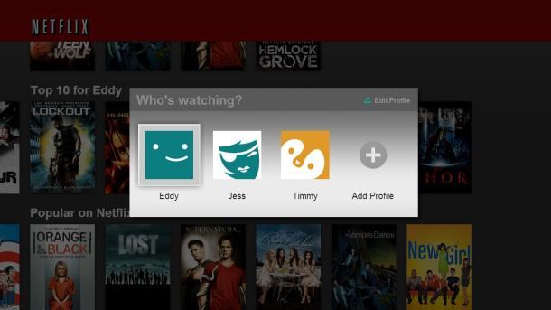 Netflix profile screen