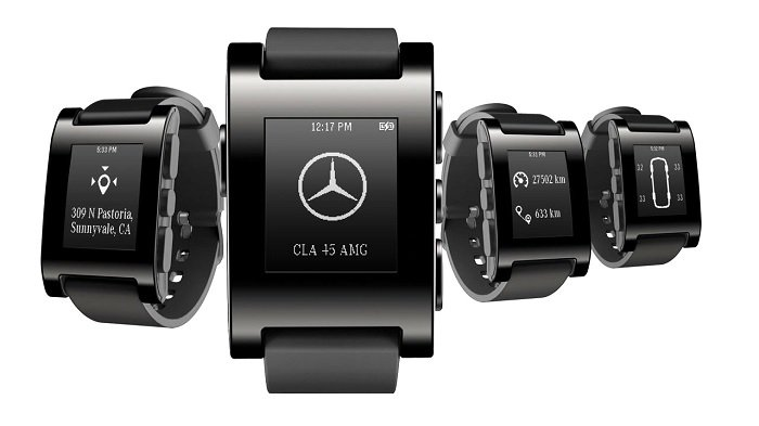 mercedes teams up with pebble to launch smart watch application integrated with the vehicle. Black Bedroom Furniture Sets. Home Design Ideas