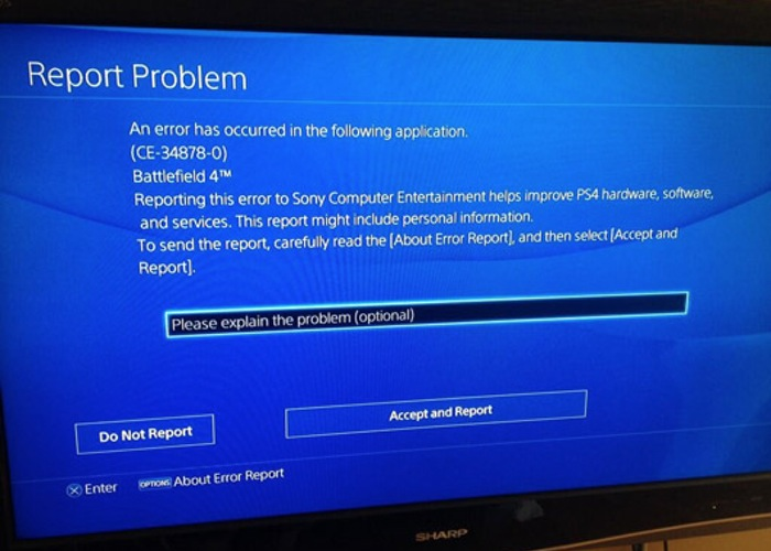 PlayStation 4 error
