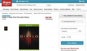 Diablo 3 For Xbox One Listing Spotted Online