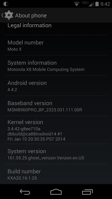 Android 4.4.2 Moto X