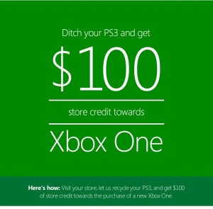 Microsoft Offering $100 Credit If You Ditch Your PS3 And Buy an Xbox One
