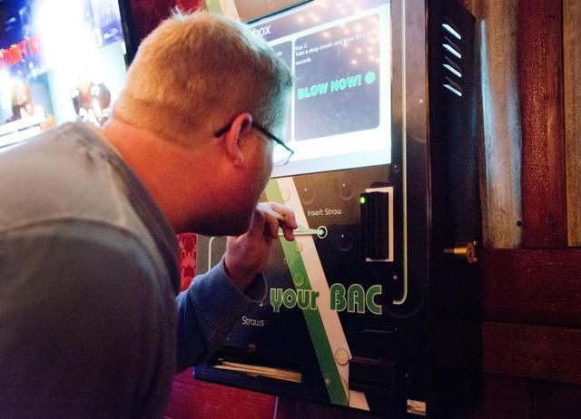 Breathalyzer in bar