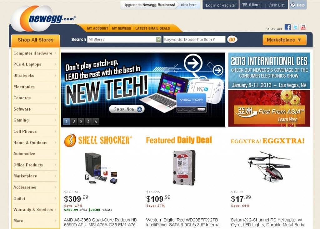 Newegg site