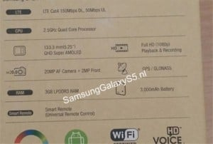 Samsung Galaxy S5 Specs Revealed By Retail Packaging (Rumor)