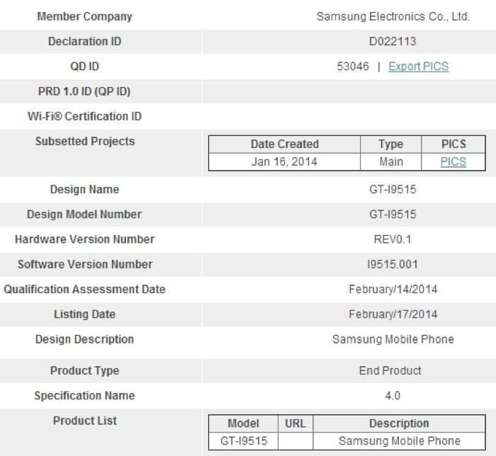 Samsung Galaxy S4 Value Edition Appears In Bluetooth SIG