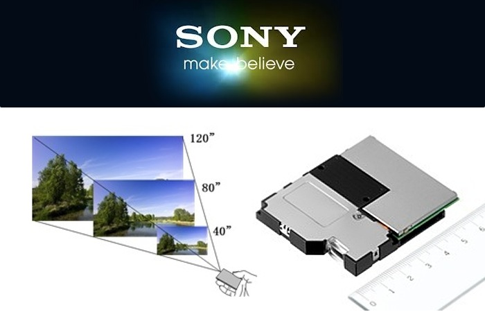 New sony pico projector offers focus free viewing using for Mirror micro projector