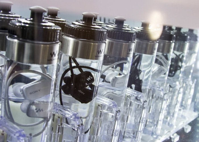 sony waterproof mp3 players packaged in bottles of water. Black Bedroom Furniture Sets. Home Design Ideas