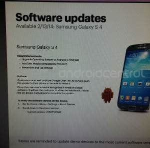 Sprint Samsung Galaxy S4 To Get Android 4.4 KitKat Starting Today (Rumor)