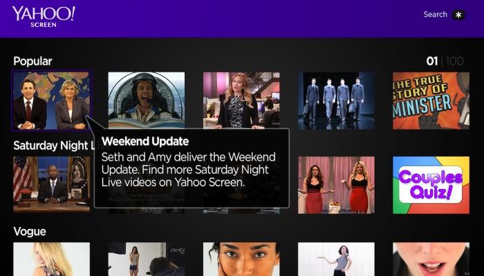 Roku Yahoo Screen