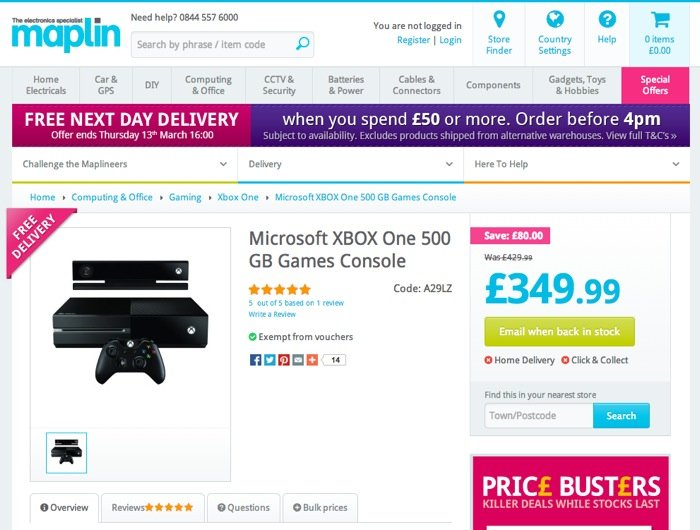 Xbox One Maplin UK