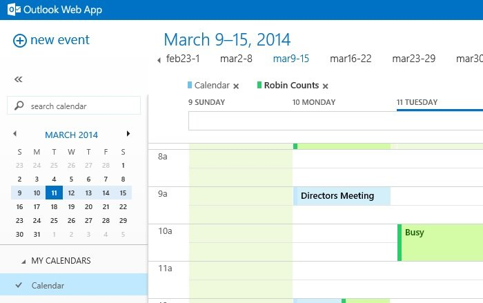 Outlook calendar search