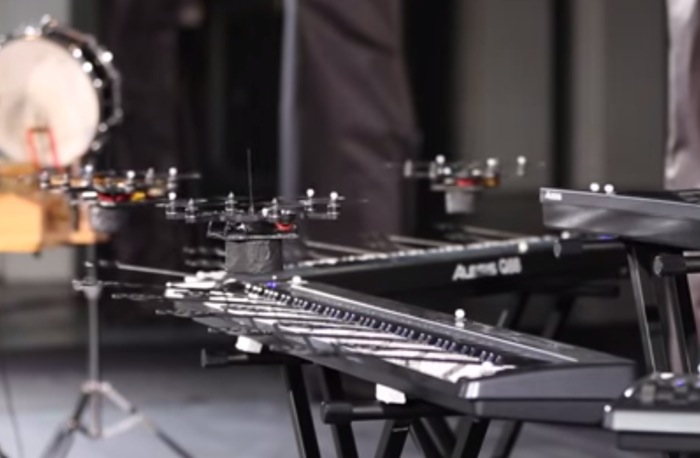 Squadron Of Quadcopter Drones Play Space Odyssey Theme (video)
