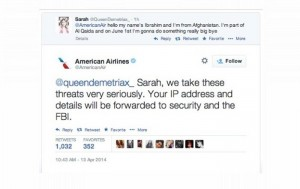 Girl tweets joke threat to American Airlines, gets arrested