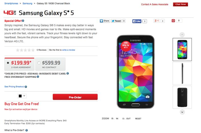 verizon galaxy s5