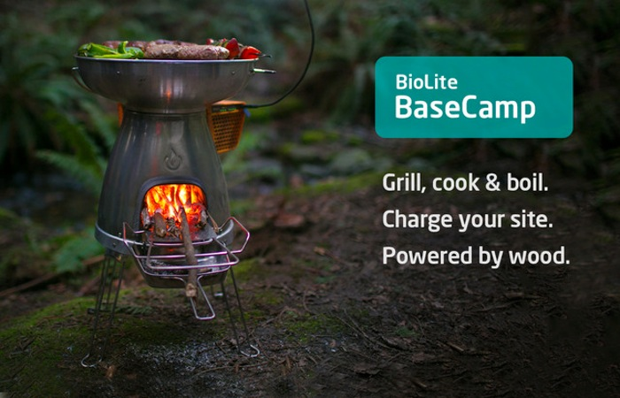 Biolite basecamp stove transforms fire into 5w of electricity video - Devices burn energy even turned off ...