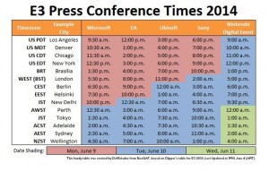 E3 Press Conference Times 2014 All In One Easy To Read Timetable