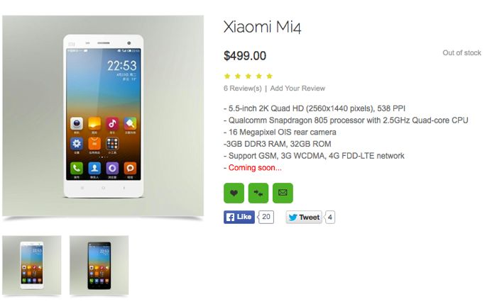 xiaomi mi4 specifications leaked