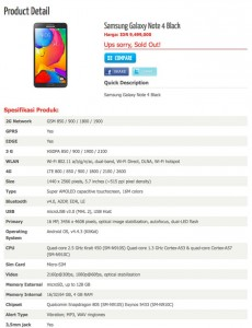 Galaxy Note 4 Appears On Retailers Website