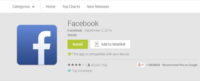facebook crosses 1 billion downloads in google play store. Black Bedroom Furniture Sets. Home Design Ideas