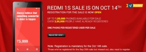 100,000 Xiaomi Redmi 1S Units To Go On Sale on October 14th on Flipkart