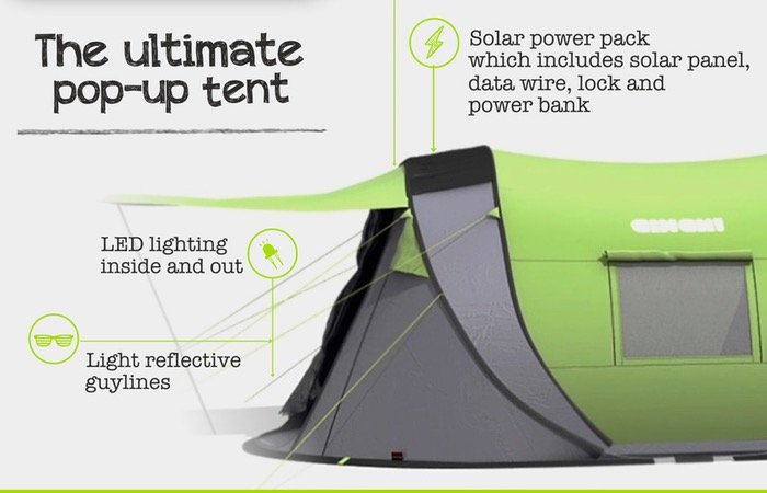 Pop-up Tent  sc 1 st  Geeky Gadgets & Cinch Next Generation Pop-up Tent Includes Solar Power And LED ...