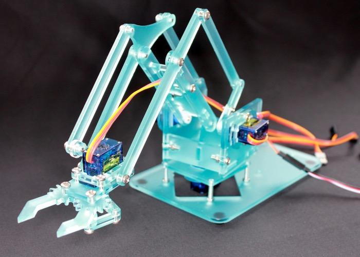 MeArm Open Source Pocket Robotic Arm MeBrain Controller (video)