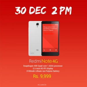 Xiaomi Redmi Note 4G To Go On Sale in India on December 30th