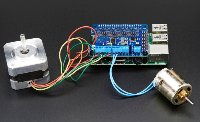 Dc and stepper motor hat for raspberry pi unveiled by adafruit for Raspberry pi stepper motor controller