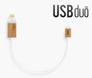 USBduo Wooden Ended Multi-purpose USB Cable Hits Kickstarter (video)