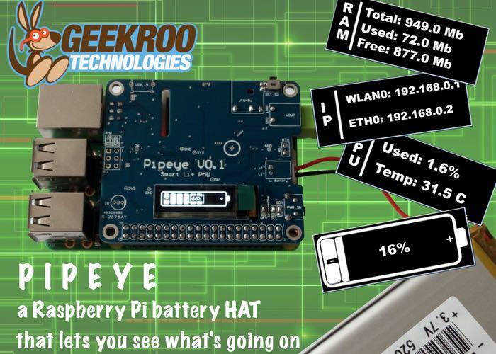 Pipeye Raspberry Pi Advanced Battery HAT