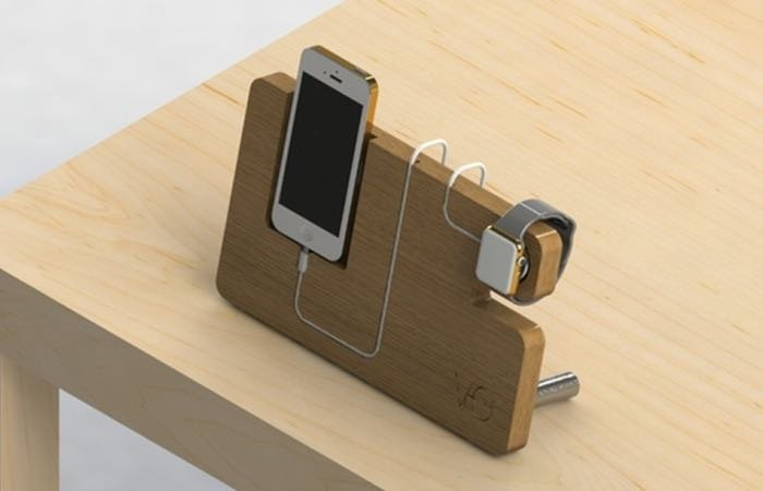 Wooden Apple Watch Dock And iPhone Charger