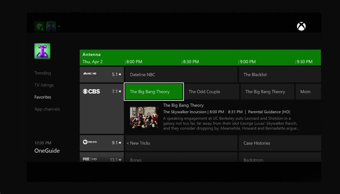 Xbox One TV Feature