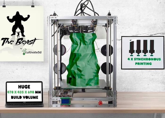 The Beast 3D Printer Uses 4 Extruders To Create Huge Prints (video)