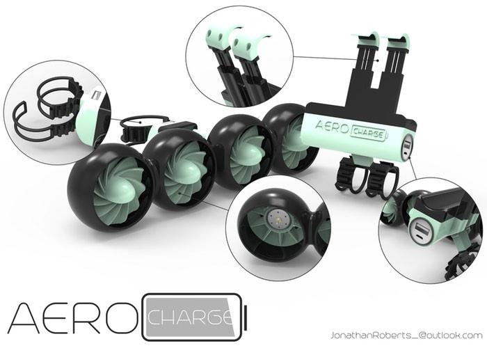 AeroCharge Wind Powered Bike Smartphone Charger