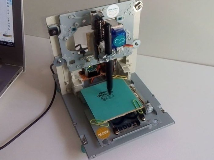 Arduino Mini CNC Plotter Created Using DVD Drives (video)