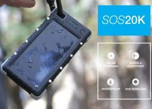 SOS20k Rugged 20,000 mAh Portable Solar Battery Launches On Kickstarter (video)