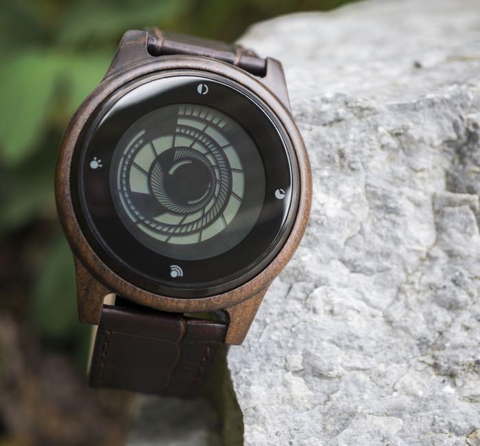 Tokyoflash kisai vortex wood lcd watch for Vortix watches